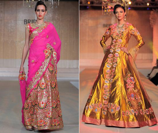floral prints on Indian bridal wear This has been the oldest use of flowers