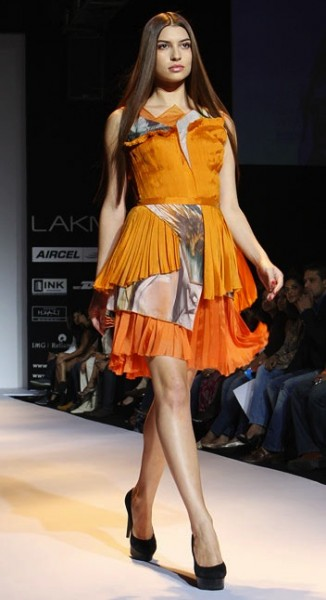 model in Bibhu Mohaptra  at Lakme Fashion Week Mumbai
