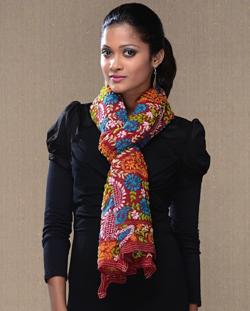 Floral Embroidered Phulkari Stole