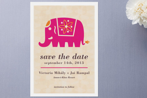 Indian wedding card with elephant