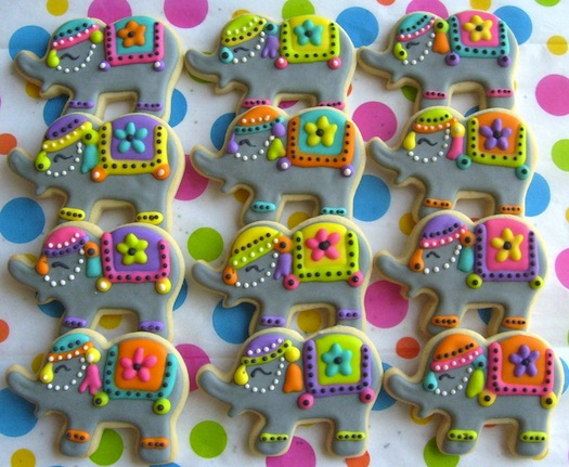 elephant cookies made for Indian wedding
