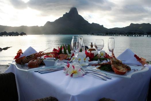 honeymoon dinner for two in bora bora
