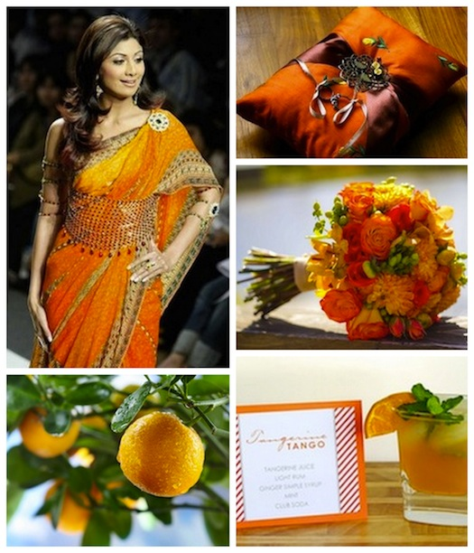 tangerine theme Indian wedding trend