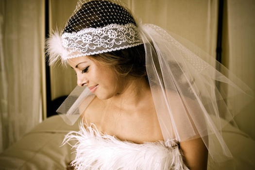 1950's inspired flapper style viel for bride