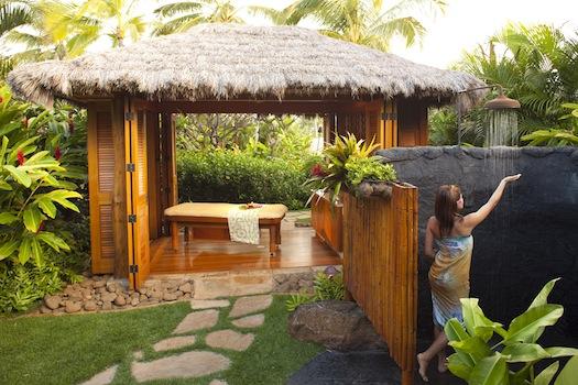 Anara outdoor-shower Hawaii honeymoon
