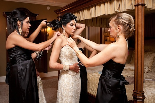 Indian bride getting ready with best friends