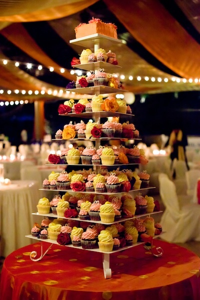 Indian wedding cup cake tower
