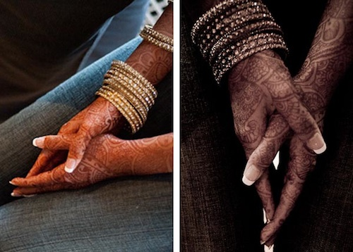bride with mehendi