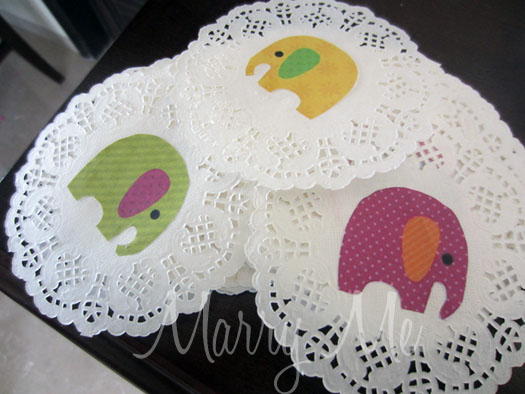 elephant paper coasters for baby shower