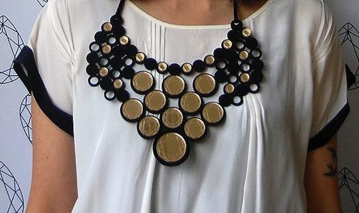 mirror work on necklace