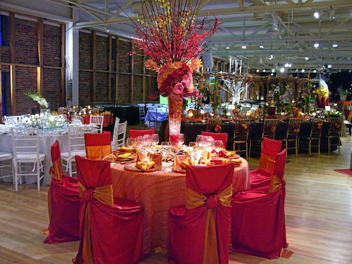 red and orange chair and table covers
