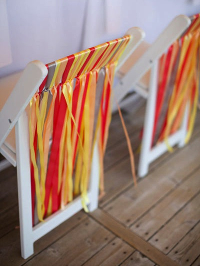 ribbons used to decorate chairs