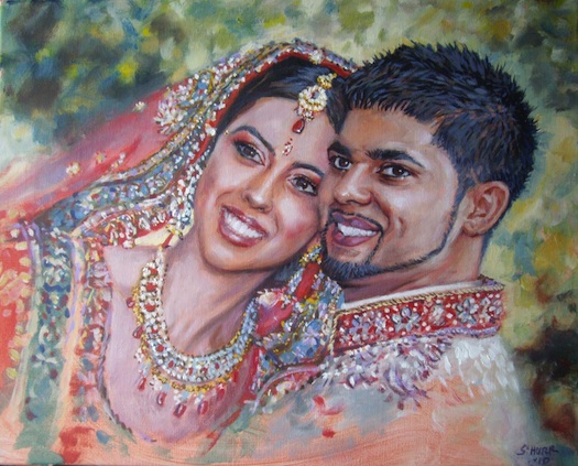 Indian couples picture painted at wedding