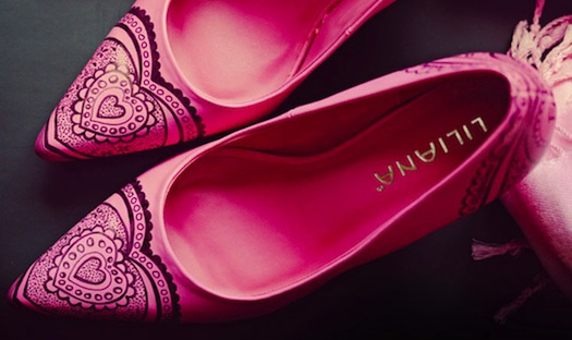 Liliana painted pink wedding shoes