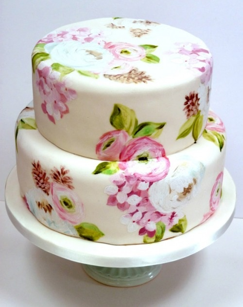 floral painted wedding cake
