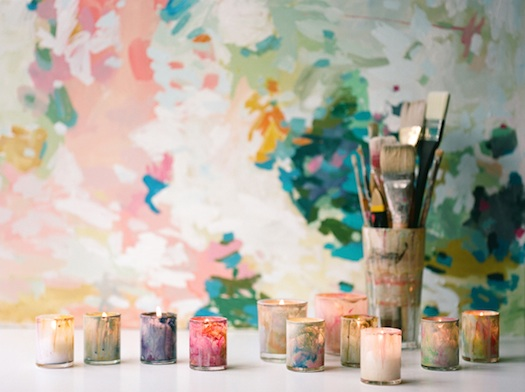 hand painted candles for wedding