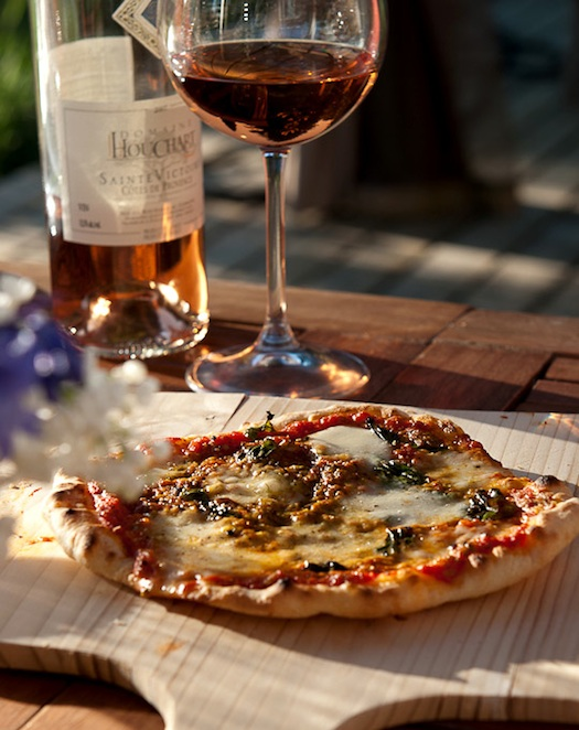 pizza and wine on honeymoon