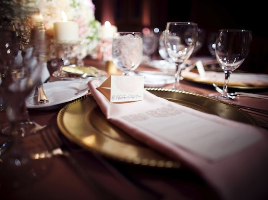 place setting for Indian wedding reception