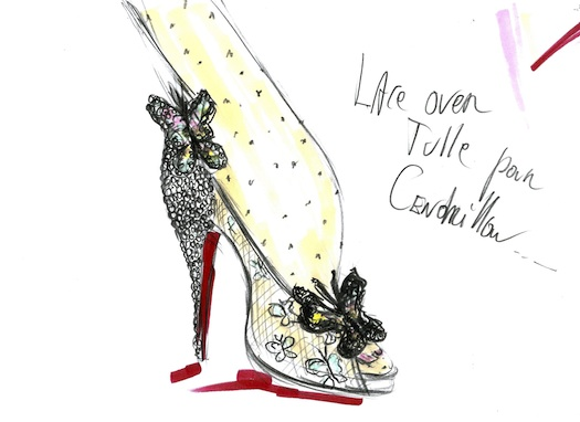 Christian Louboutin charity shoe sketch
