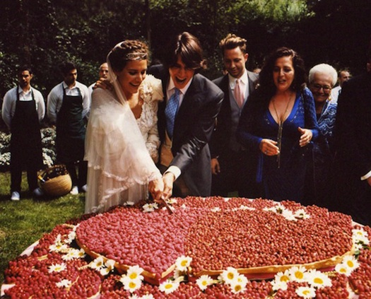 Margherita Missoni cutting her wedding cake