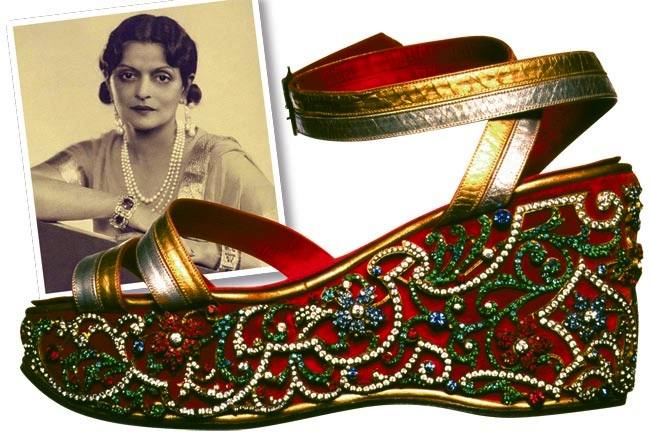 Salvatore Ferragamo wedge sandals of Maharani Indira Devi