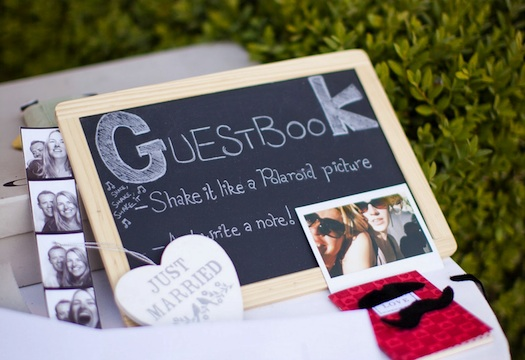 chalk board guestbook sign for wedding