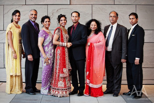 Photograph of an Indian family at a wedding