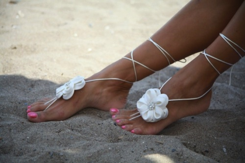 barefoot beach wedding sandals white
