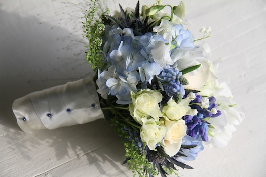 blue wedding theme floral bride bouquet