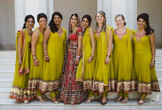 beautiful Indian bridesmaids at wedding in Mumbai