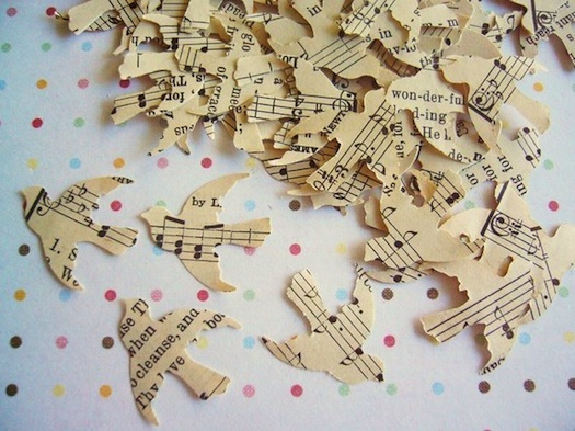 bird cutouts from musical notes for wedding