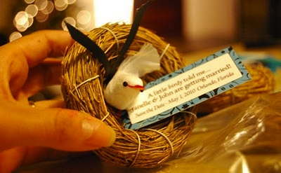 birds as part of wedding favors