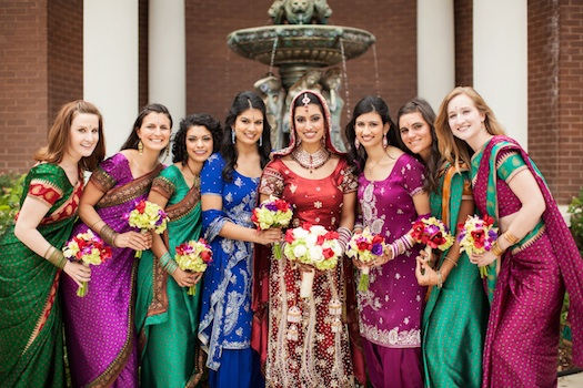 bridesmaids at Indian wedding