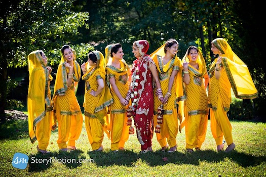 bright bridesmaids for Indian wedding