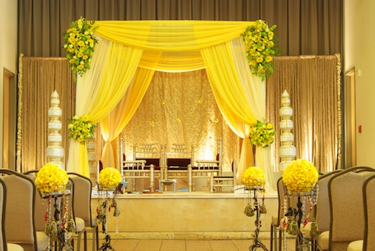 bright yellow Indian wedding mandap
