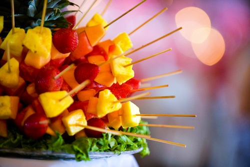edible fruits arrangement at Indian wedding