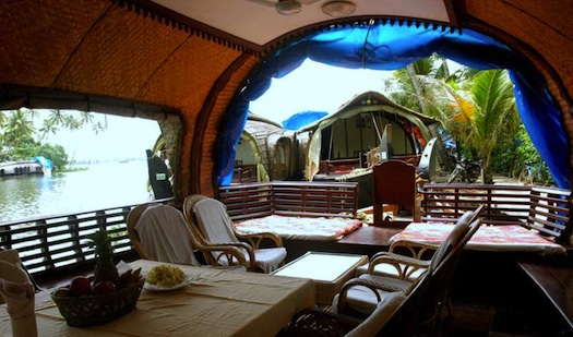 inside houseboat in kerala backwaters