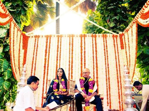 mari gold mandap at Indian wedding