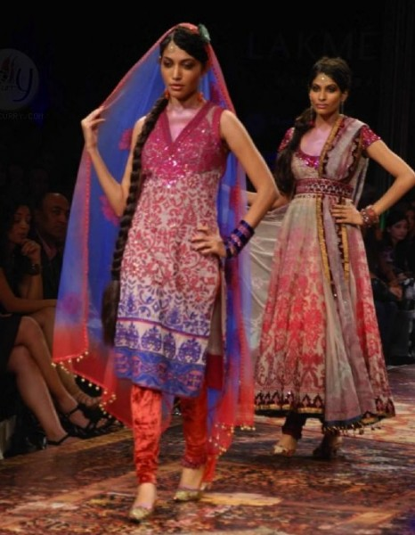 models on the ramp for Tarun Tahukuani at fashion week