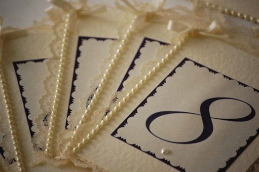pearls used for table names at wedding