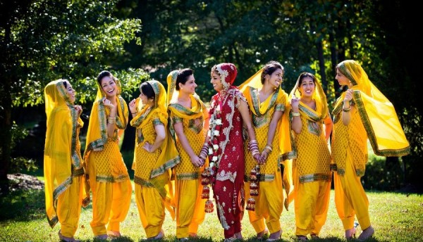 summer wedding Indian bridesmaids