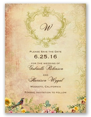 wedding card with birds