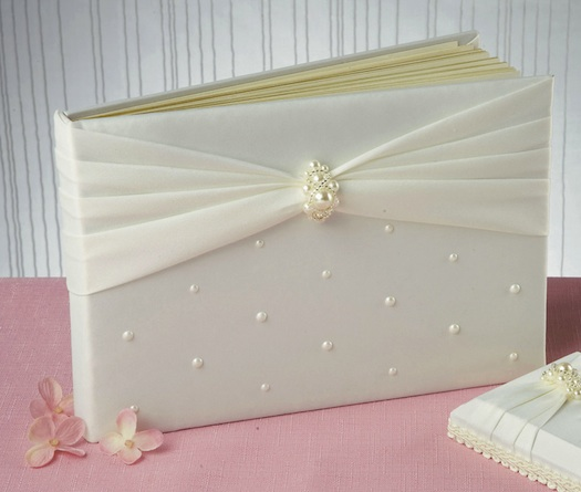 wedding guest book with pearls