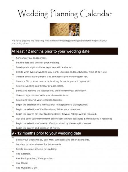 wedding planning calander