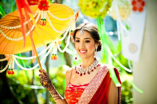 Indian bride with Parasol