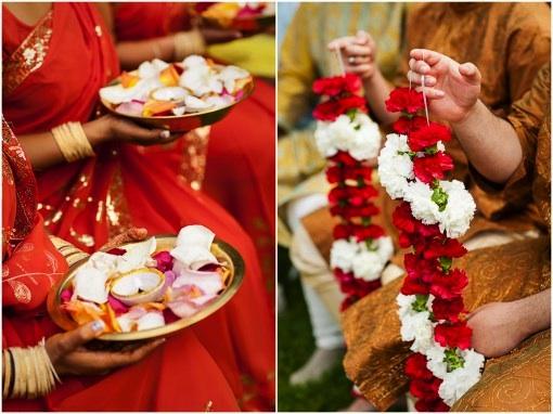 Indian wedding jaimalas with rose petals