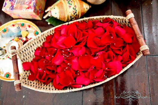 rose petals at Indian wedding ceremony